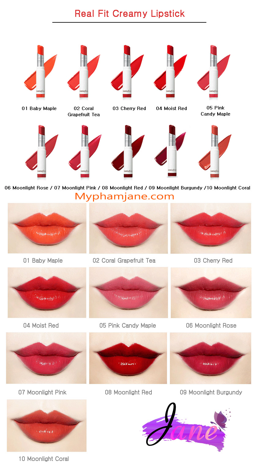 bảng màu son Innisfree Real Fit Creamy Lipstick