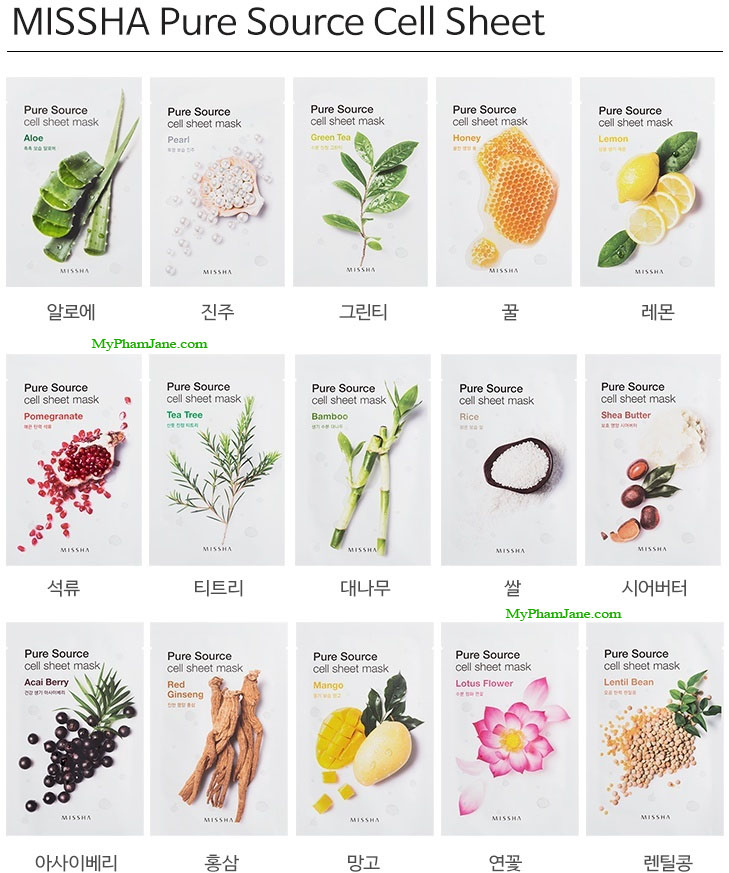 mặt nạ Missha Pure Source Cell Sheet Mask