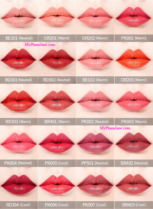 bảng màu son Etude House Mini Lip Color 20 màu son lì