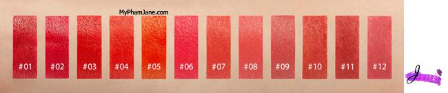 bảng màu Creamy Tint Squeeze Lip trực quan