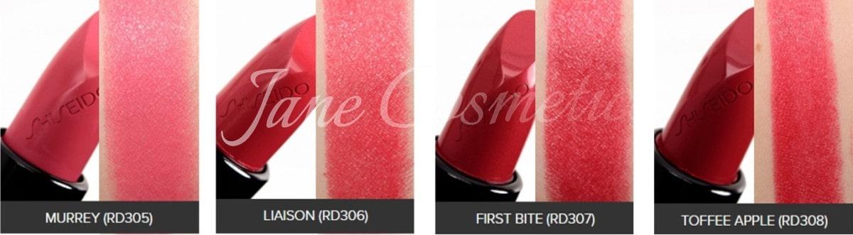 Bảng màu son Shiseido mới nhất RD305-RD308